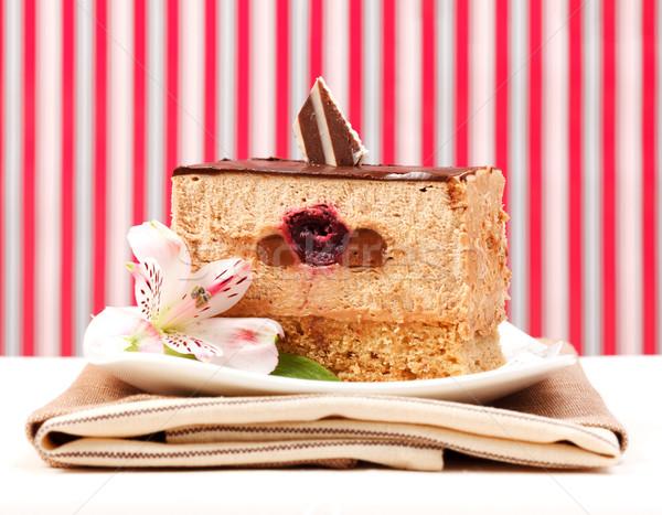 Mus czekoladowy ciasto plaster żywności przestrzeni tablicy Zdjęcia stock © icefront