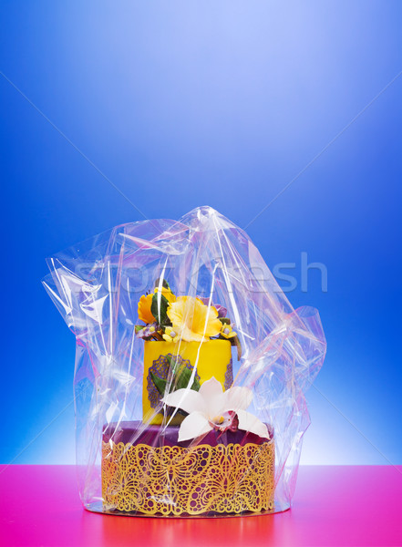 Colorful cake in cellophane wrap Stock photo © icefront
