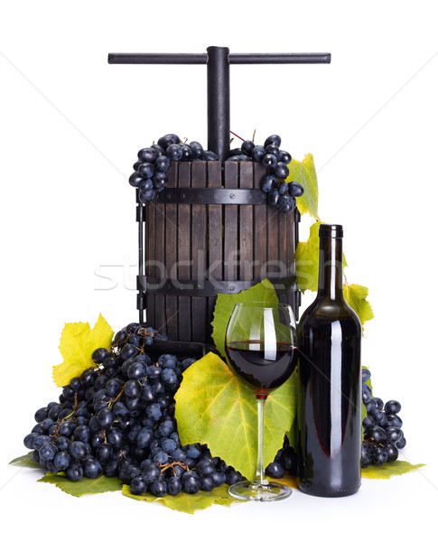 Manual grape pressing utensil with red wine Stock photo © icefront