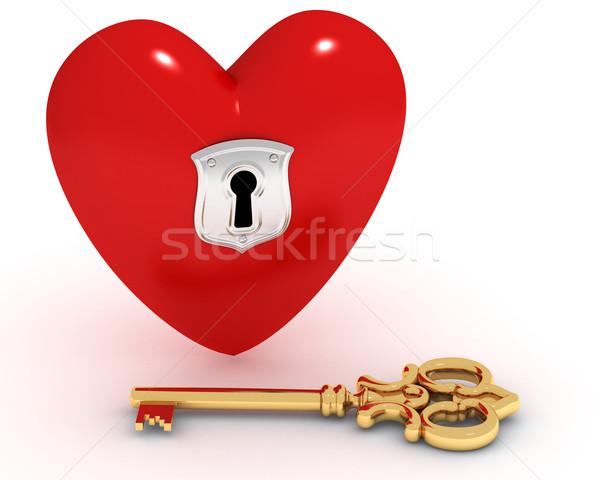 Foto stock: Fechado · coração · chave · vermelho · buraco · de · fechadura · dourado