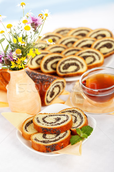 Poppy seed roll breakfast Stock photo © icefront