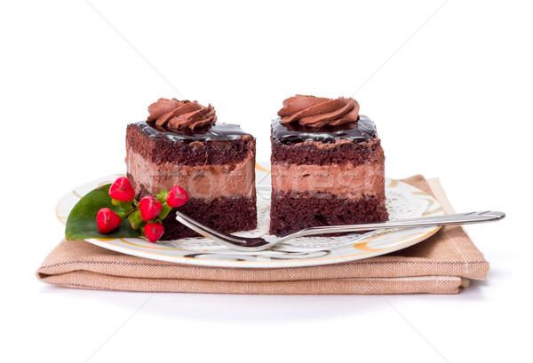 Two chocolate layer mousse cake on plate Stock photo © icefront