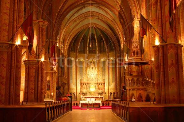 Foto stock: Iglesia · interior · noche · oro · luces · arquitectura