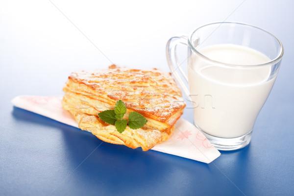 Stockfoto: Appel · cake · glas · melk · Blauw · voedsel