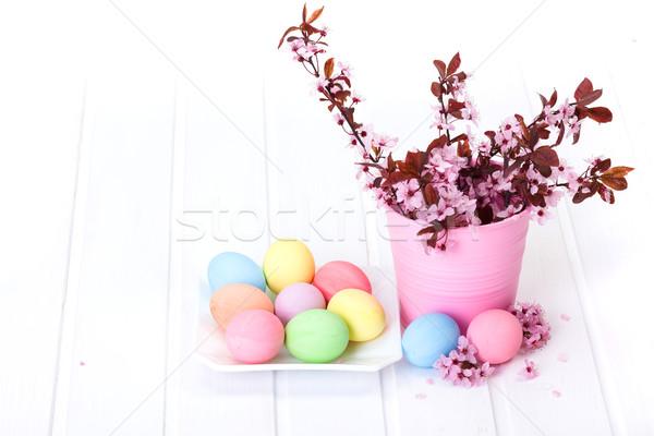 Húsvét egyezség barack virágok rózsaszín pasztell Stock fotó © icefront