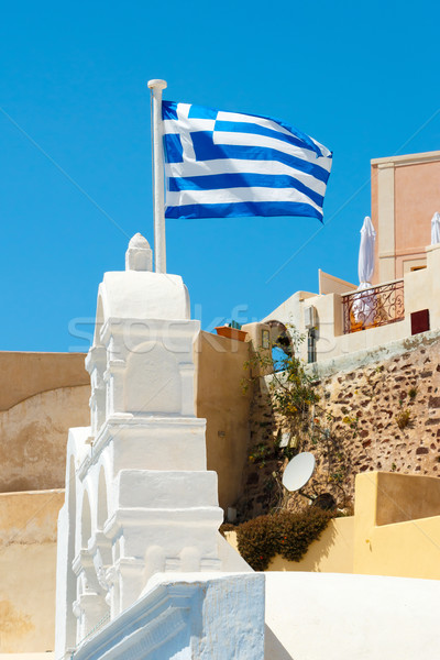 Greek flag in the wind Stock photo © icefront