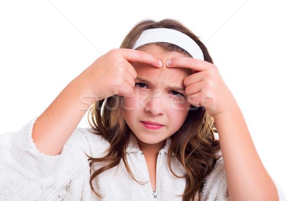 ストックフォト: 青少年 · 皮膚 · 問題 · 少女 · 顔 · 美