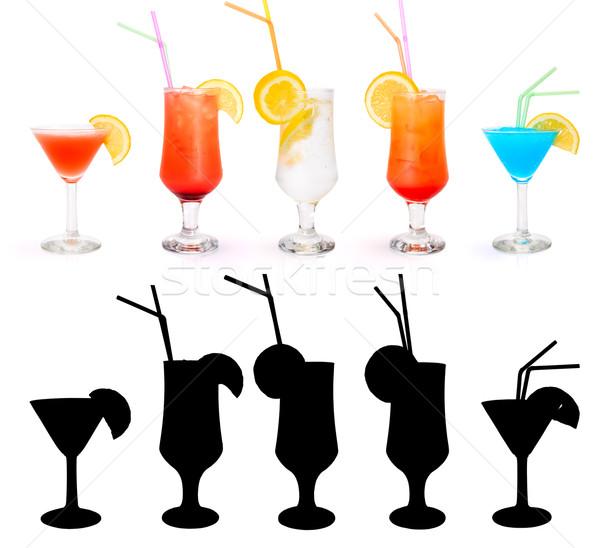 Cocktails máscara cosmopolita nascer do sol gin Foto stock © icefront