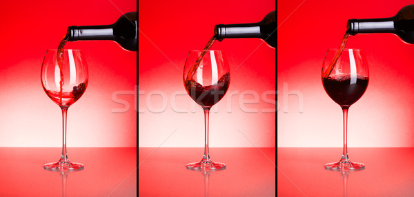 Three phases of pouring red wine Stock photo © icefront