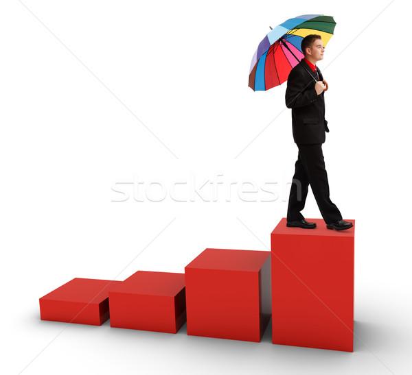 случайный деловой человек ходьбе статистика молодые успешный Сток-фото © icefront