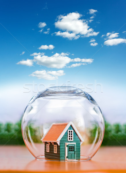 Insured house under glass sphere Stock photo © icefront