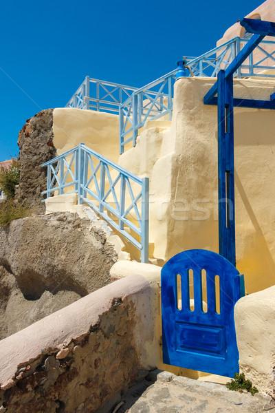Pequeno grego casa portão santorini ilha Foto stock © icefront