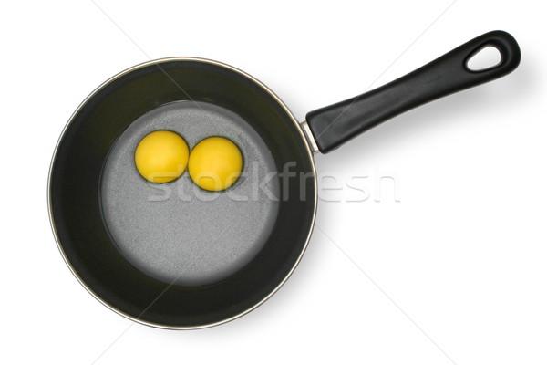 Crudo huevos pan alimentos negro desayuno Foto stock © icefront