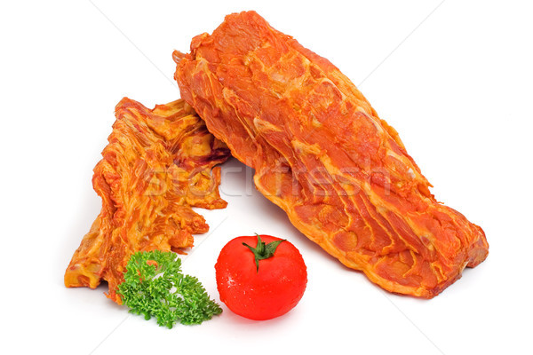 Varkensvlees rack gezamenlijk gekruid tomaat Stockfoto © icefront