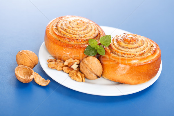 Two cinnamon rolls on plate Stock photo © icefront
