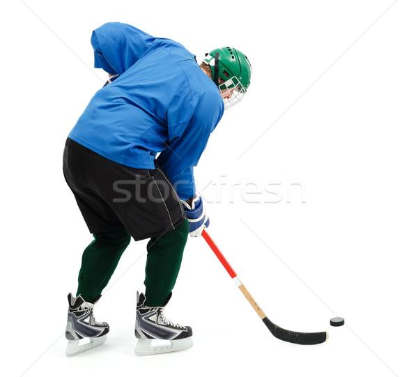 Jégkorong játékos kék visel zöld sisak Stock fotó © icefront