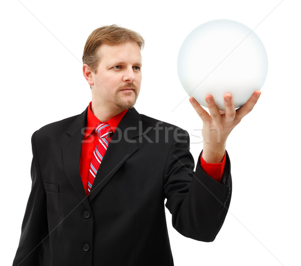 Man holding placeholder globe in his hand Stock photo © icefront