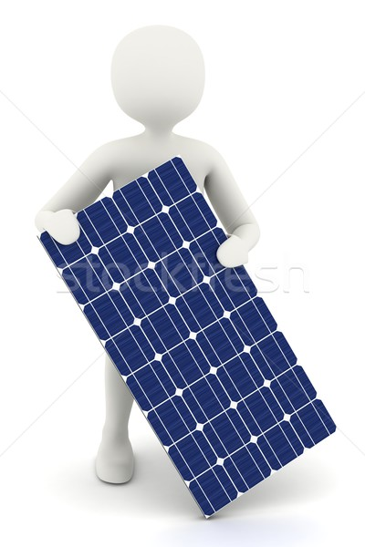 3d white man holding solar panel Stock photo © icefront