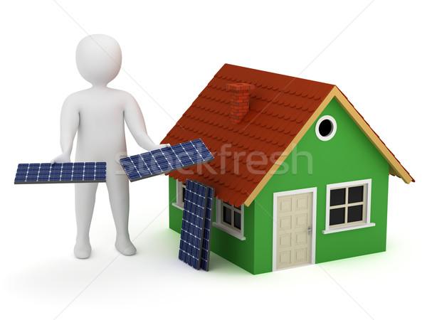 3d man güneş panelleri teklif sera alternatif yenilenebilir enerji Stok fotoğraf © icefront