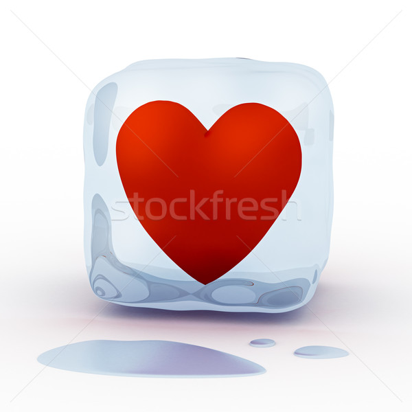 Red heart in ice cube Stock photo © icefront
