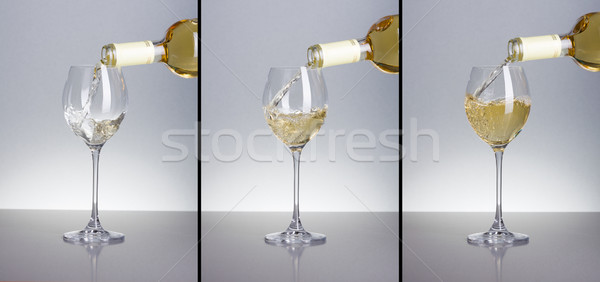 Three phases of pouring white wine Stock photo © icefront