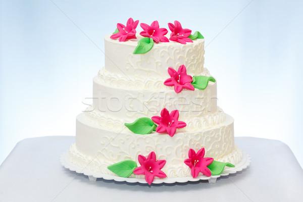 Stockfoto: Bruidstaart · witte · roze · marsepein · bloem · decoratie