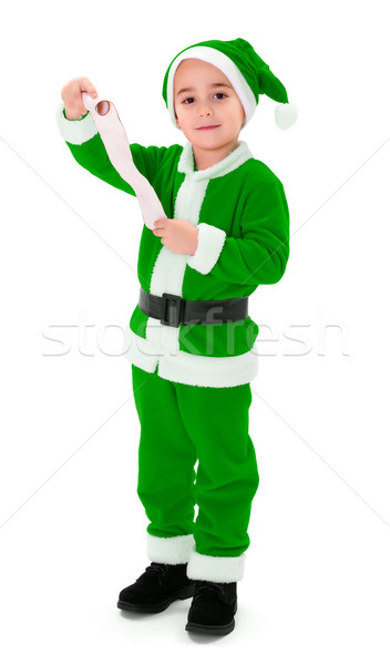 Little green Santa Claus boy holding blank wish list Stock photo © icefront