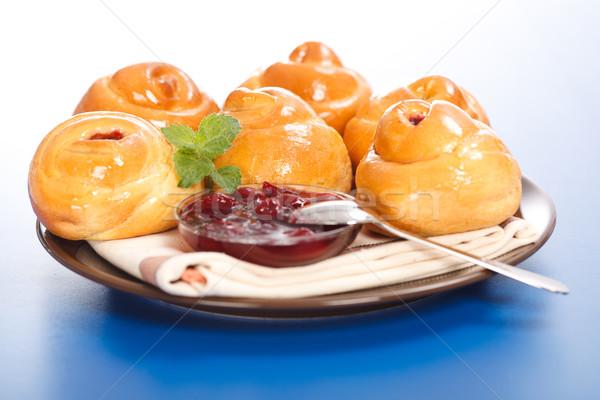 Agrio cereza tortas atasco placa azul Foto stock © icefront