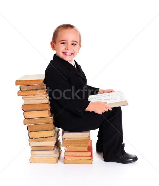 Sabiduría libros cute pequeño nino libro abierto Foto stock © icefront