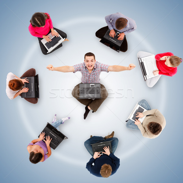 Social network members around one successful man Stock photo © icefront