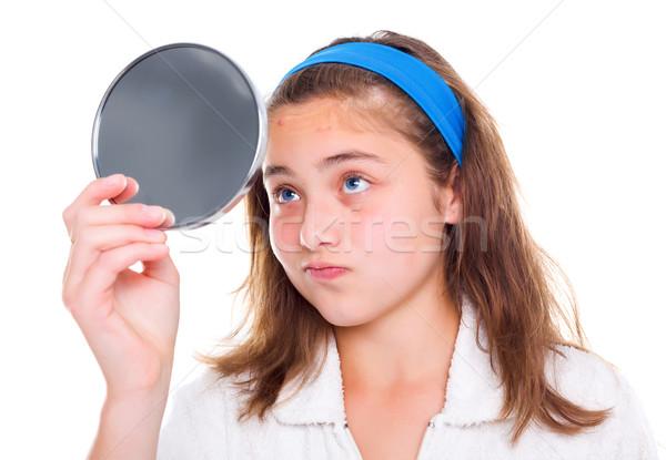 Meisje spiegel tienermeisje gezicht schoonheid tiener Stockfoto © icefront