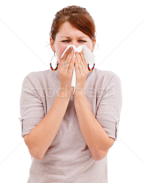 Mulher jovem assoar o nariz jovem alérgico mulher Foto stock © icefront