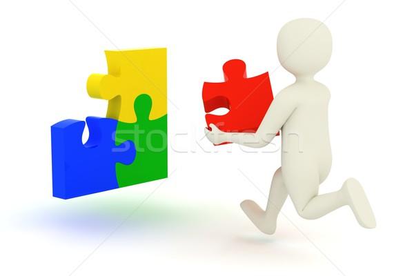 Stockfoto: Blanke · man · lopen · puzzel · stuk · witte · 3d · man