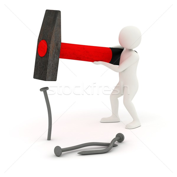 3d man hitting and bending nail Stock photo © icefront