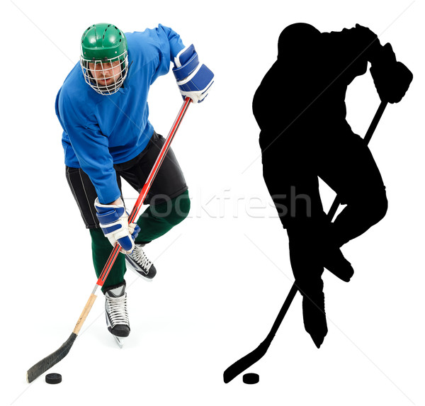 Ice hockey player and it's silhouette Stock photo © icefront