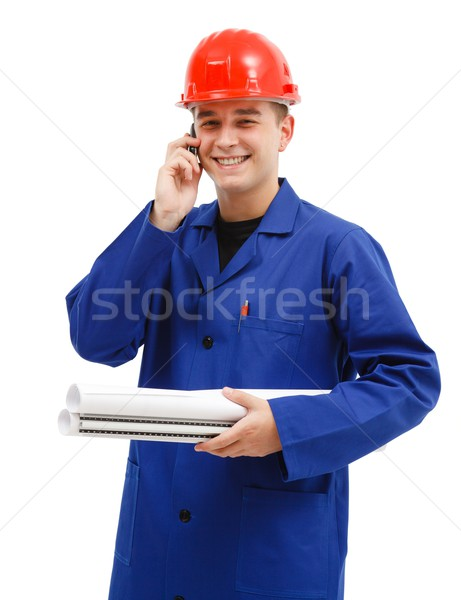 Happy engineer talking on the phone Stock photo © icefront