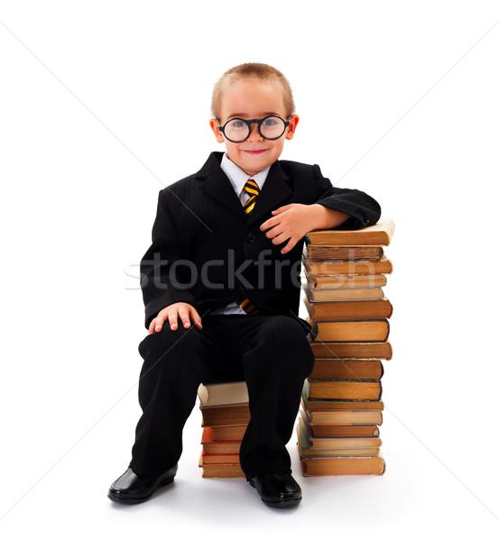 Saggio kid ragazzo occhiali seduta libri Foto d'archivio © icefront