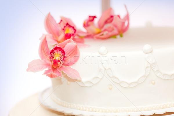 Yaşamak çiçek dekorasyon görmek düğün pastası Stok fotoğraf © icefront