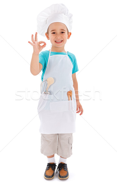 Cheerful little chef showing good taste Stock photo © icefront
