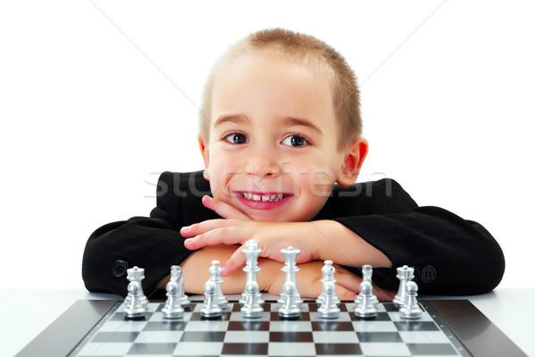Kid готовый играть шахматам счастливым мало Сток-фото © icefront