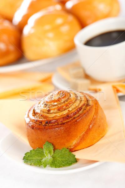 Macro of cinnamon roll breakfast Stock photo © icefront