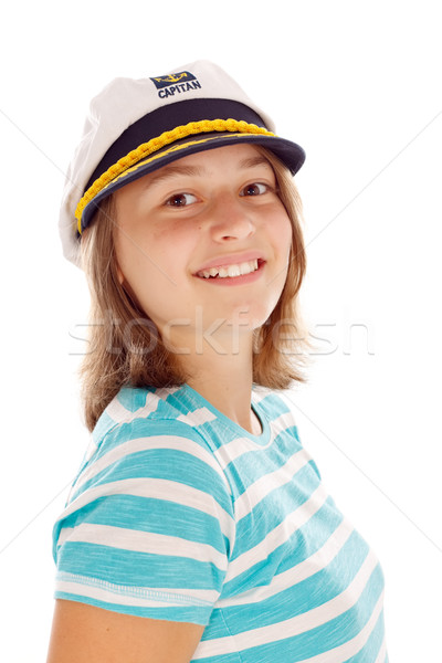 Teen girl in captain's hat Stock photo © icefront