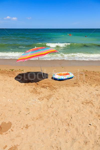 Guarda-sol brinquedo barco mar colorido inflável Foto stock © icefront