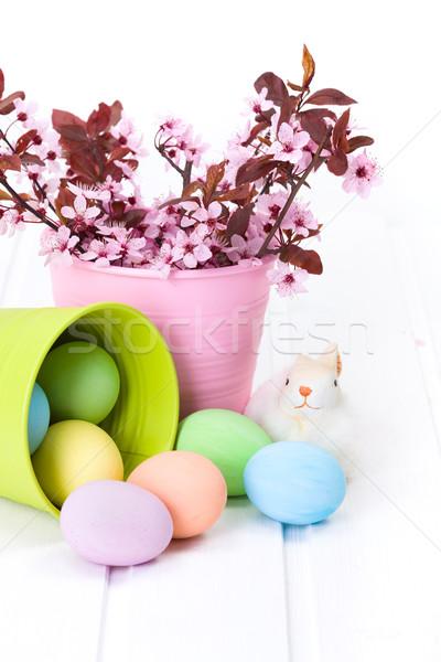 Húsvéti tojások folyik ki vödör színes zöld Stock fotó © icefront