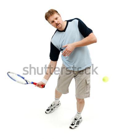 Nyertes teniszező kifejez boldogság ütő labda Stock fotó © icefront