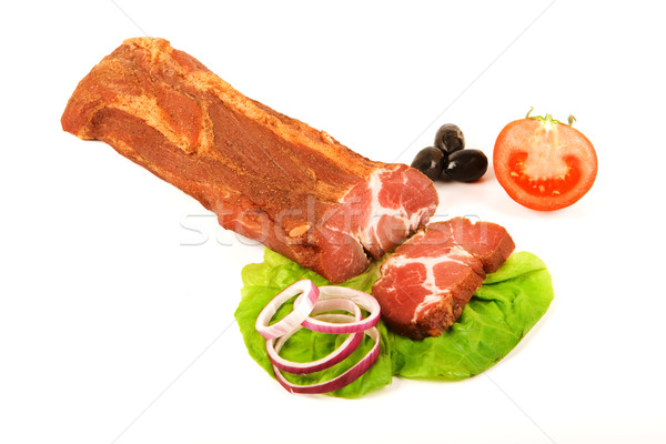 Spicy pork loin stick and slice on white Stock photo © icefront