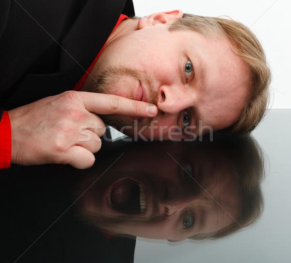 Tegenover gedrag man tonen stilte Stockfoto © icefront