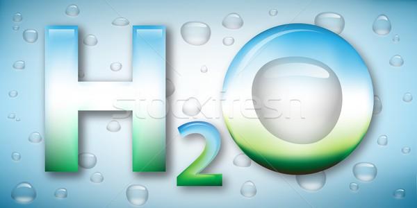 Eau formule gouttes stylisé illustration chimiques Photo stock © icefront