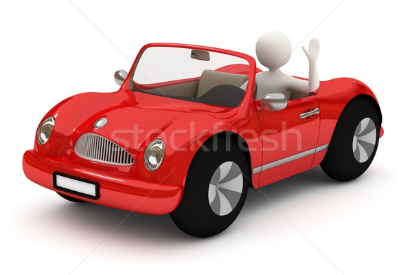 3d man going with red car Stock photo © icefront