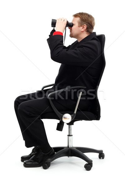 Mann Sitzung Stuhl Suche Fernglas Geschäftsmann Stock foto © icefront